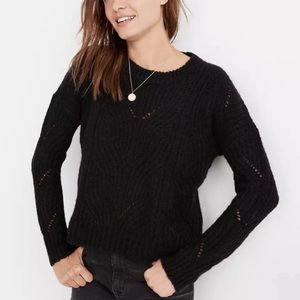 Madewell Charley Pullover open knit Sweater in black size  XXS